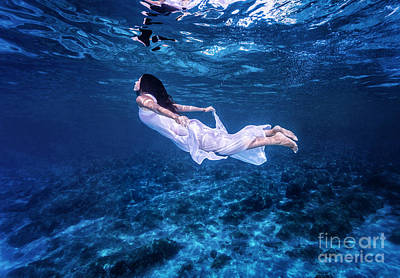 Photograph - Swimming In Beautiful Blue Sea by Anna Om