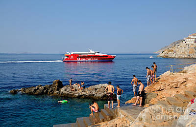 Cliff Photograph - Swimming In Hydra Island by George Atsametakis