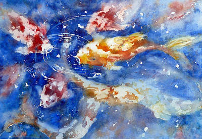 Painting - Swimming Koi Fish by Carolyn Jarvis