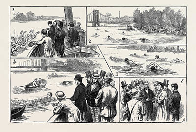 Championship Drawing - Swimming Match In The Thames For The Amateur Championship by English School