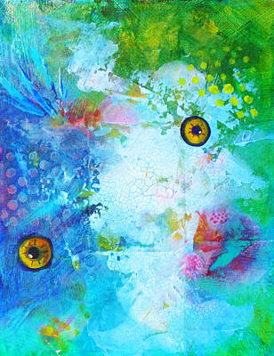 Artistic Fish Abstraction Painting - Swimming by Nancy Merkle