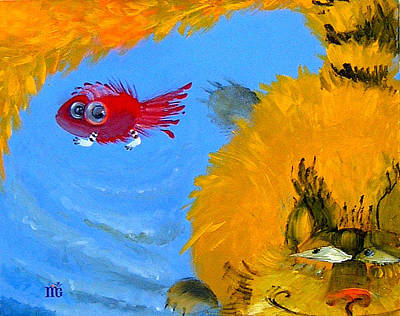 Swimming Of A Yellow Cat Art Print by Marina Gnetetsky