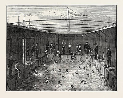 Antique Vessel Drawing - Swimming Pool Of The Training Ship Indefatigable by English School