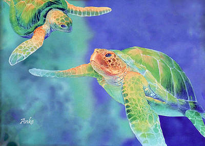 Swimming Seaturtles Art Print by Anke Wheeler