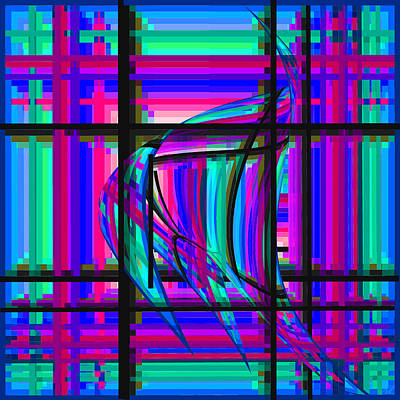 Digital Art - Swimming The Grid In Blue And Green by Stephanie Grant