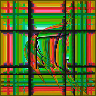 Digital Art - Swimming The Grid In Orange And Green by Stephanie Grant