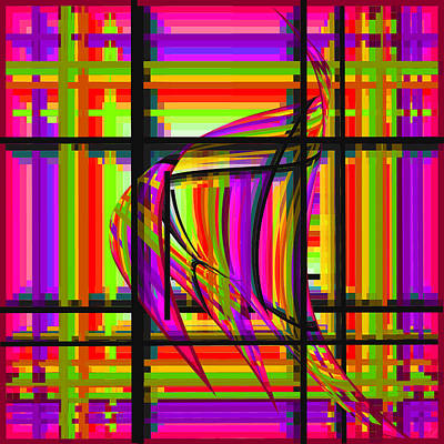 Digital Art - Swimming The Grid In Pink And Purple by Stephanie Grant