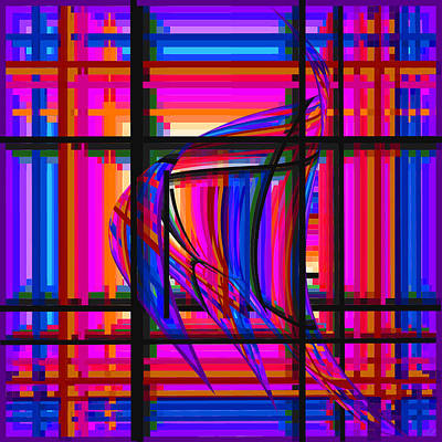 Digital Art - Swimming The Grid In Purple And Blue by Stephanie Grant