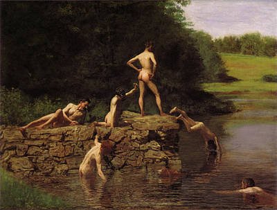 Nude Digital Art - Swimming by Thomas Eakins