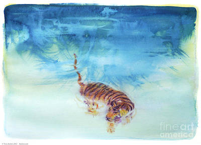Peaceable Painting - Swimming Tiger - 1 by Terry Burkes