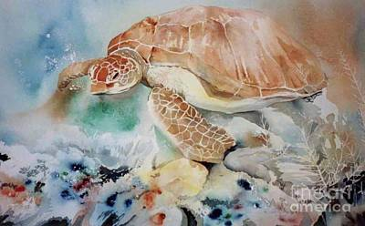 Painting - Swimming Turtle by Donna Acheson-Juillet