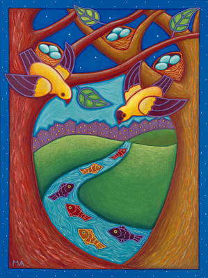 Childrens Story Book Painting - Swimming Upstream by Mary Anne Nagy