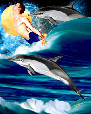 Swimming With Dolphins Art Print