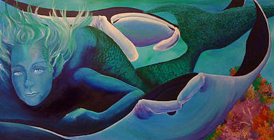 Painting - Swimming With Mantas by Patti Lane
