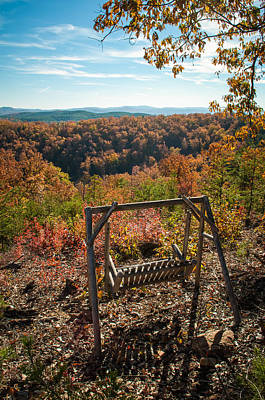 Photograph - Swing Bench Overlooking Mountains by Alex Grichenko
