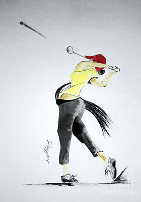 Swing For Hole One Art Print by Jalal Gilani