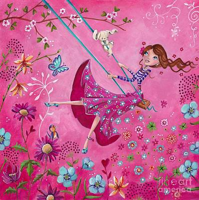 Fairy Hearts Pink Flower Painting - Swing Girl by Caroline Bonne-Muller
