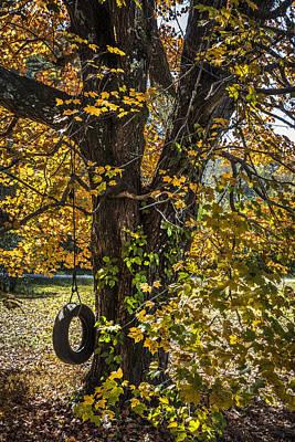 Swing In The Maple Tree Art Print by Debra and Dave Vanderlaan