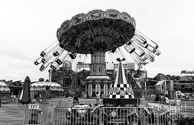 Swing Ride Mono Art Print by John Rizzuto