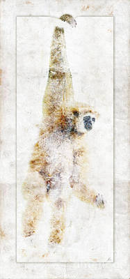 Digital Art - Swinging Gibbon by Nola Lee Kelsey