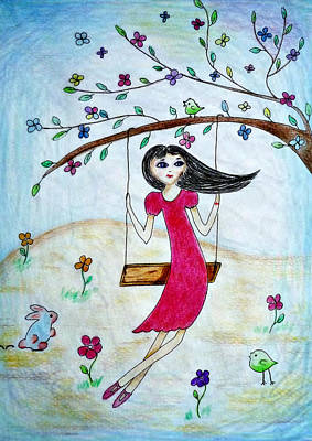 Drawing - Swinging In A Tree by Jo Ann