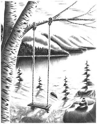 Adirondack Drawing - Swinging In Adirondack Solitude by Rodney Allen Bentley