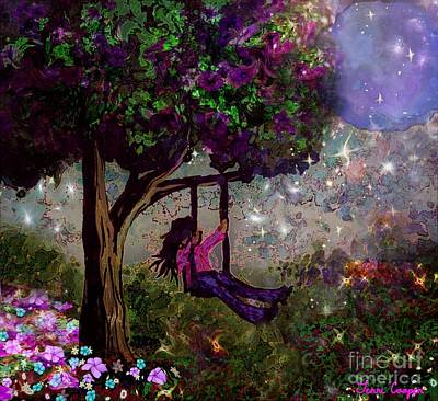 Child Swinging Digital Art - Swinging In The Moonlight by Terri  Cooper