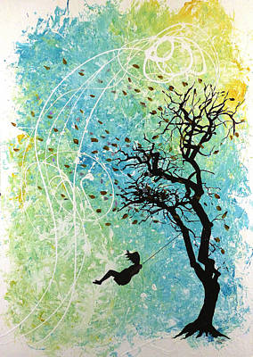 Girl On Swing Painting - Swinging In The Wind by Jack Hanzer Susco