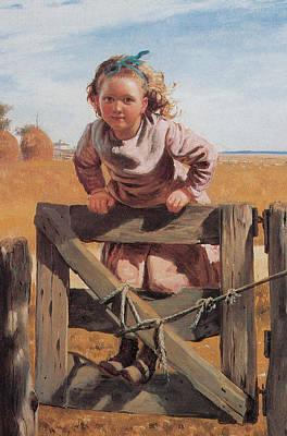 Child Swinging Digital Art - Swinging On A Gate Detail by John Brown