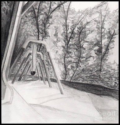 Drawing - Swingset by Angie Staft