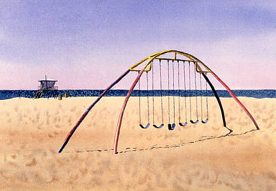 Painting - Swingset On Beach by Melinda Fawver