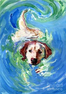Yellow Labrador Retriever Painting - Swirl Pool by Molly Poole