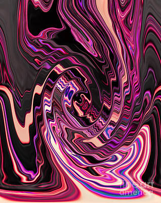 Swirl Spiral Of Pink Purple And Black Abstract Digital Design Art Print