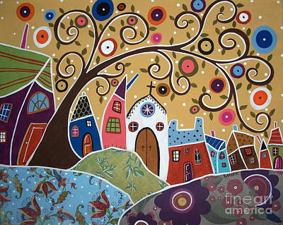 Modern Folk Art Flowers Painting - Swirl Tree Town 1 by Karla Gerard