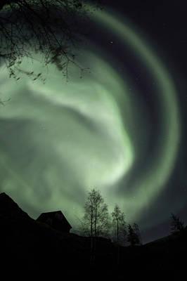 Jul08 Photograph - Swirling Aurora Borealis Fills The by Dave Brosha