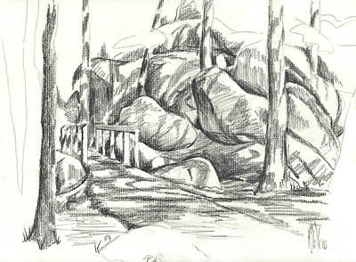Arcadia Valley Drawing - Swirling Cast Shadows At Elephant Rocks  No Ctc101 by Kip DeVore