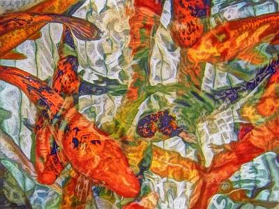 Painting - Swirling Pond Of Koi - Horizontal  by Lyn Voytershark