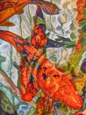 Painting - Swirling Pond Of Koi - Vertical by Lyn Voytershark