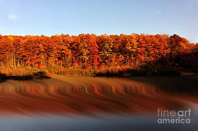 Swirling Reflections With Fall Colors Print by Dan Friend