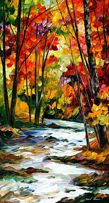 Swirling Stream - Palette Knife Oil Painting On Canvas By Leonid Afremov Original by Leonid Afremov