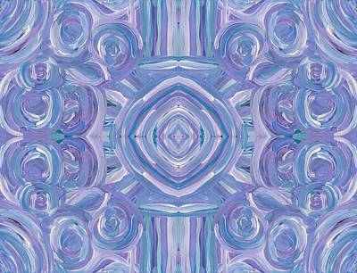 Star Burst Painting - Swirls In Blue Horizontal by Barbara St Jean