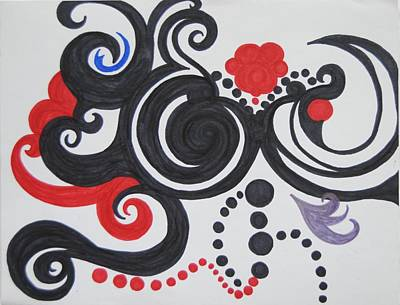 Balck Art Drawing - Swirls by Ivory Bean