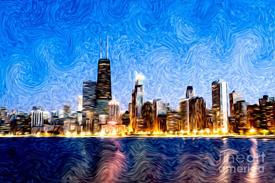 Hancock Building Digital Art - Swirly Chicago At Night by Paul Velgos