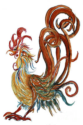 Flashy Painting - Swirly Heart Rooster by CheyAnne Sexton