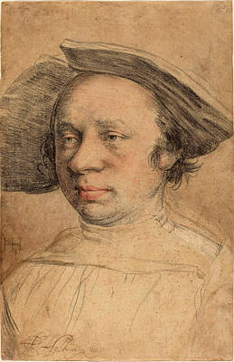 Brown Swiss Drawing - Swiss 16th Century After Hans Holbein The Younger by Quint Lox