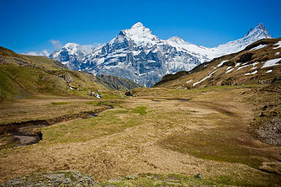 Photograph - Swiss Alps - Schreckhorn And Valley by Anthony Doudt