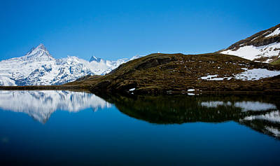 Photograph - Swiss Alps - Schreckhorn Reflection by Anthony Doudt