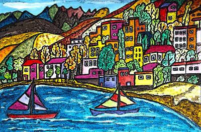 Swiss Alps Drawing - Swiss Block Colorful Lots by Monica Engeler