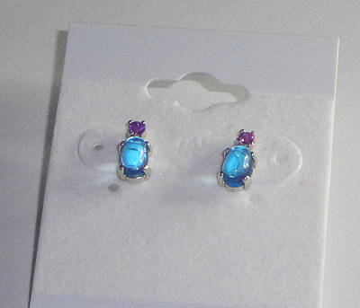 Swiss Blue Topaz And Amethyst Earrings Original by Robin Copper