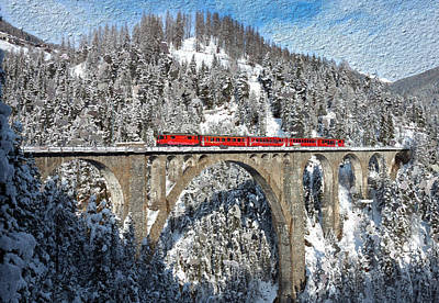 Swiss Bridge - Snow Painting Art Print by Mike Rampino